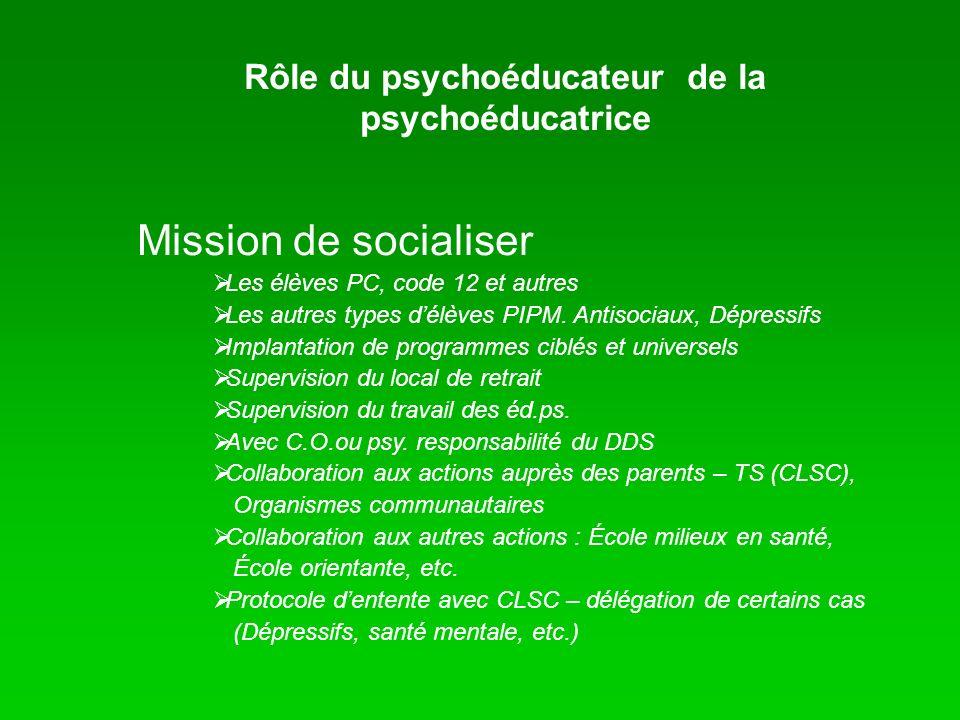 Rôle du psychoéducateur de la psychoéducatrice Mission de socialiser Les élèves PC, code 12 et autres Les autres types délèves PIPM. Antisociaux, Dépr