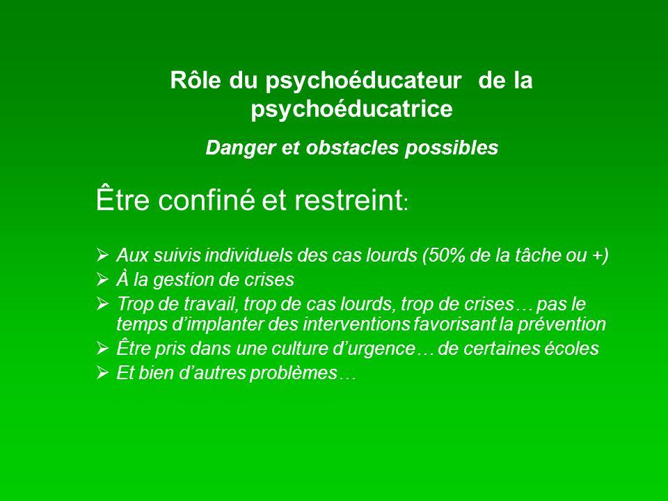 Rôle du psychoéducateur de la psychoéducatrice Danger et obstacles possibles Être confiné et restreint : Aux suivis individuels des cas lourds (50% de