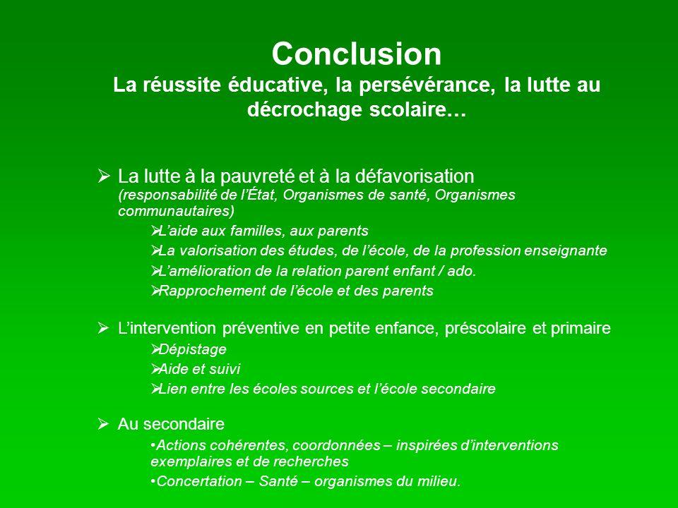 Conclusion La réussite éducative, la persévérance, la lutte au décrochage scolaire… La lutte à la pauvreté et à la défavorisation (responsabilité de l