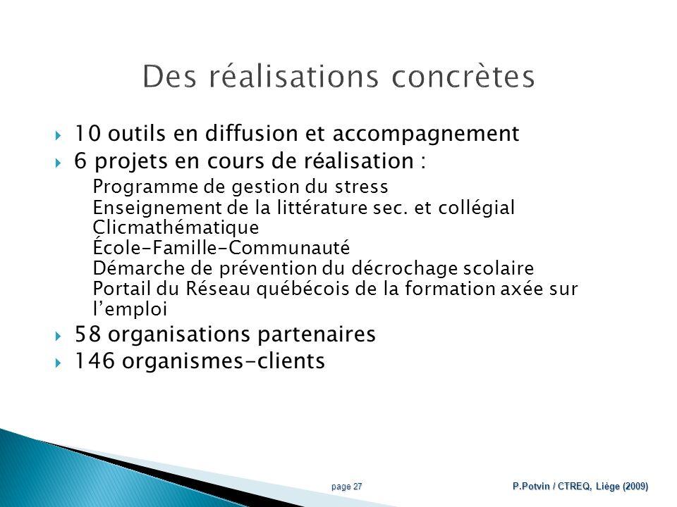10 outils en diffusion et accompagnement 6 projets en cours de r é alisation : Programme de gestion du stress Enseignement de la littérature sec.