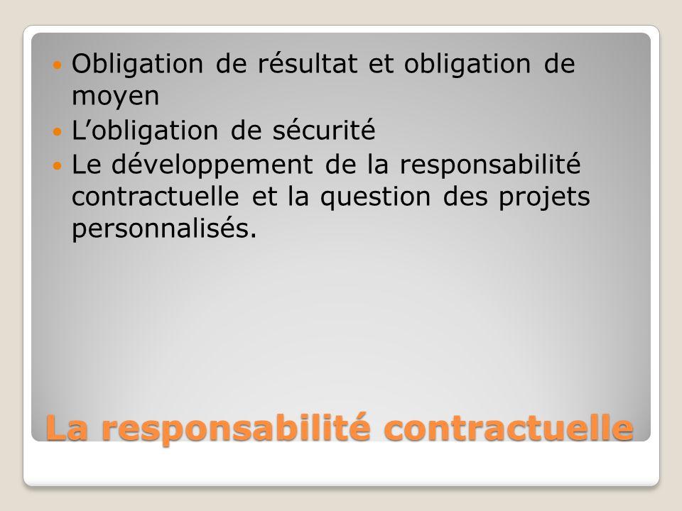 La responsabilité contractuelle Obligation de résultat et obligation de moyen Lobligation de sécurité Le développement de la responsabilité contractue