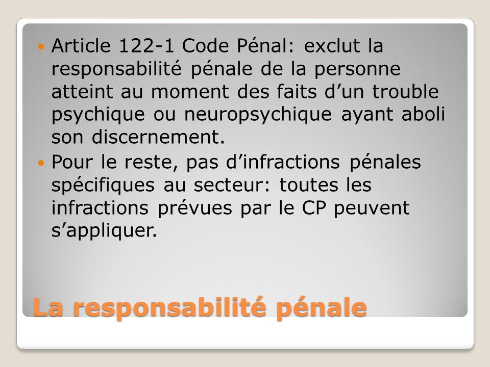 La responsabilité pénale Article 122-1 Code Pénal: exclut la responsabilité pénale de la personne atteint au moment des faits dun trouble psychique ou