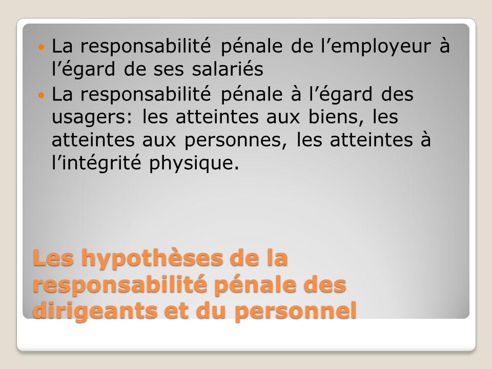 Les hypothèses de la responsabilité pénale des dirigeants et du personnel La responsabilité pénale de lemployeur à légard de ses salariés La responsab