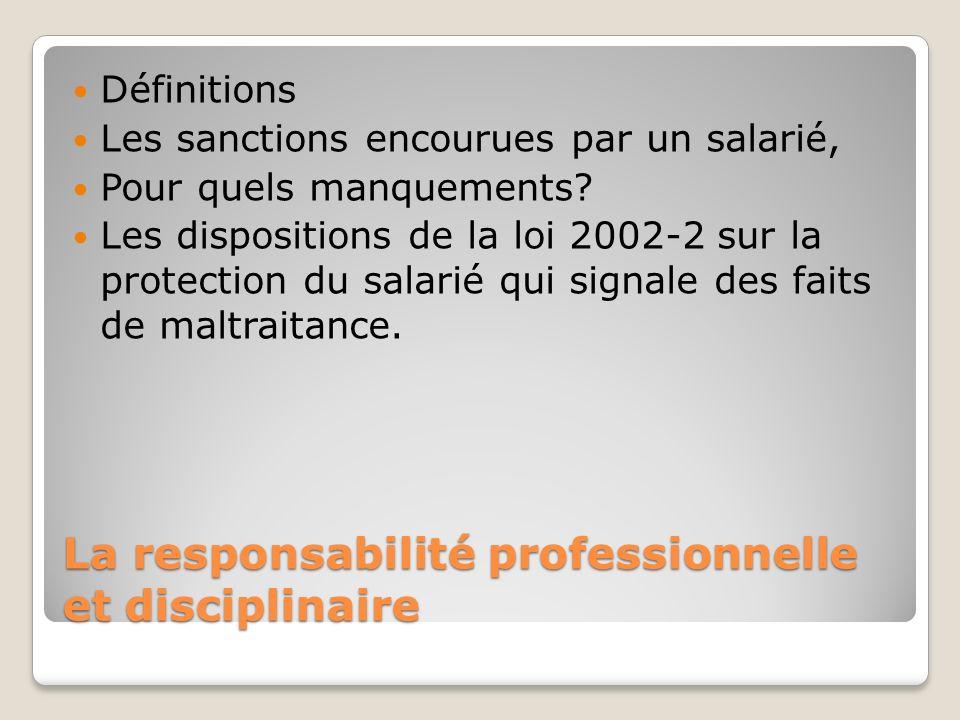 La responsabilité professionnelle et disciplinaire Définitions Les sanctions encourues par un salarié, Pour quels manquements? Les dispositions de la