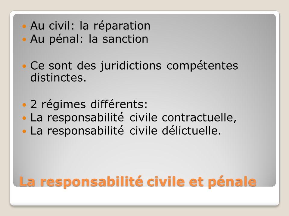 La responsabilité civile et pénale Au civil: la réparation Au pénal: la sanction Ce sont des juridictions compétentes distinctes. 2 régimes différents