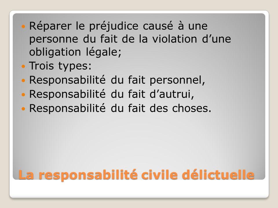 La responsabilité civile délictuelle Réparer le préjudice causé à une personne du fait de la violation dune obligation légale; Trois types: Responsabi