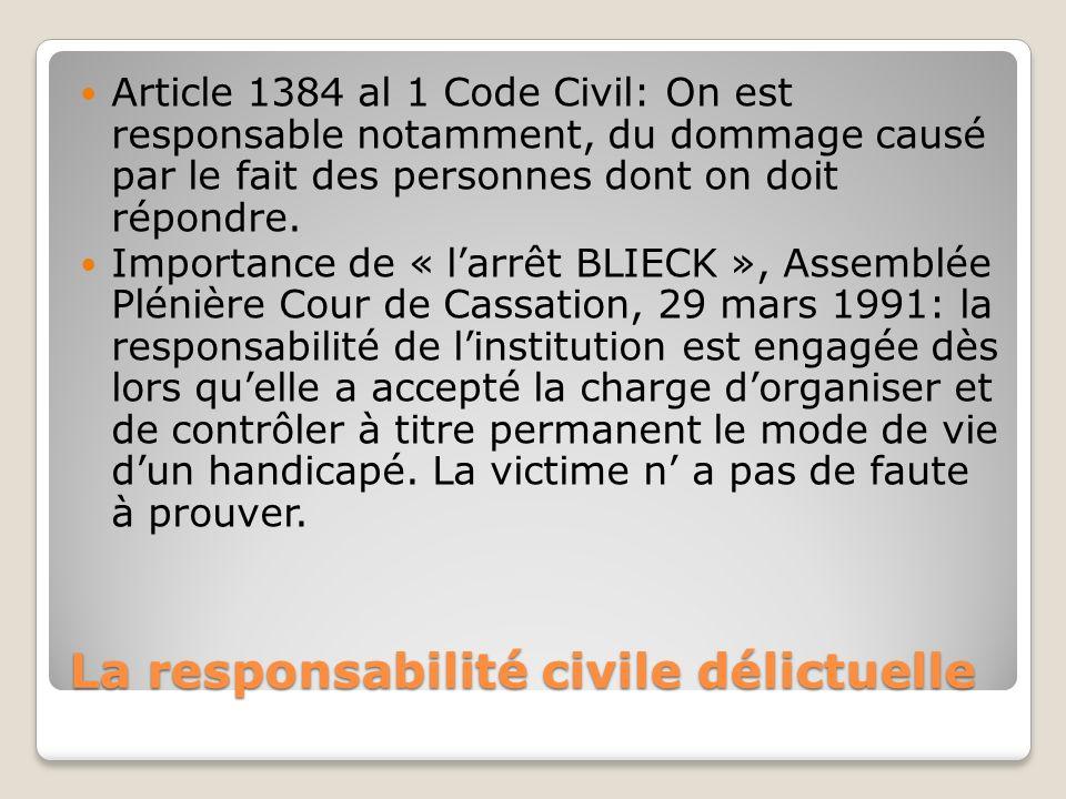 La responsabilité civile délictuelle Article 1384 al 1 Code Civil: On est responsable notamment, du dommage causé par le fait des personnes dont on do
