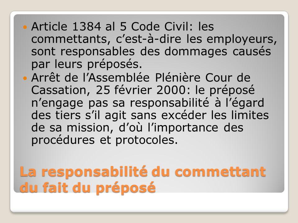 La responsabilité du commettant du fait du préposé Article 1384 al 5 Code Civil: les commettants, cest-à-dire les employeurs, sont responsables des do