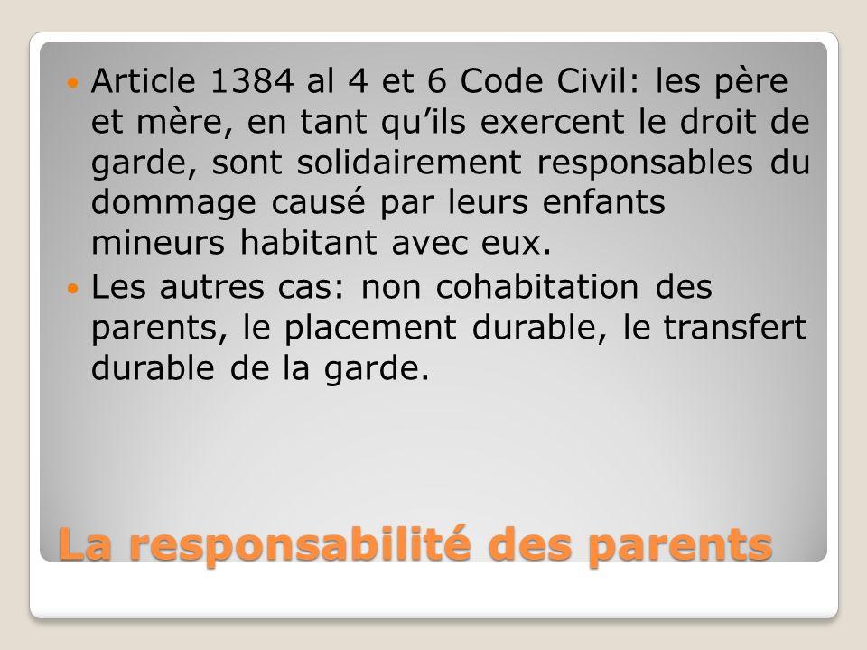 La responsabilité des parents Article 1384 al 4 et 6 Code Civil: les père et mère, en tant quils exercent le droit de garde, sont solidairement respon