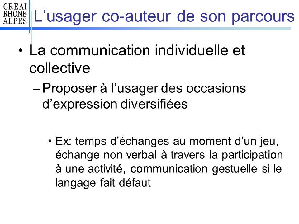 Lusager co-auteur de son parcours La communication individuelle et collective –Proposer à lusager des occasions dexpression diversifiées Ex: temps déc