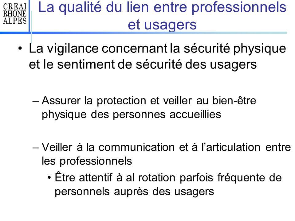 La qualité du lien entre professionnels et usagers La vigilance concernant la sécurité physique et le sentiment de sécurité des usagers –Assurer la pr