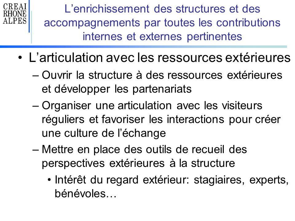 Lenrichissement des structures et des accompagnements par toutes les contributions internes et externes pertinentes Larticulation avec les ressources