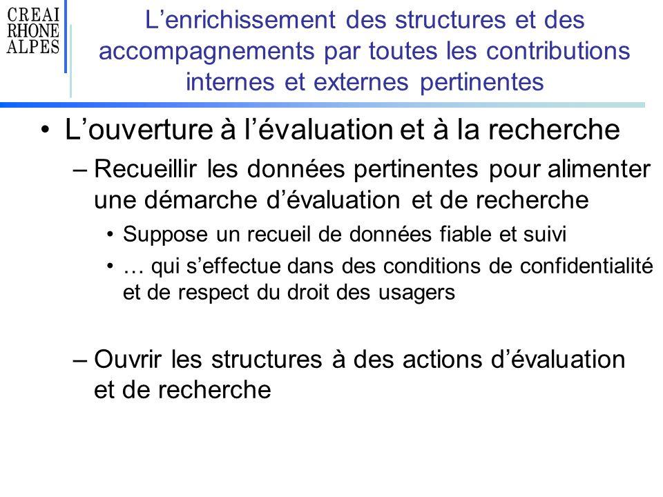 Lenrichissement des structures et des accompagnements par toutes les contributions internes et externes pertinentes Louverture à lévaluation et à la r