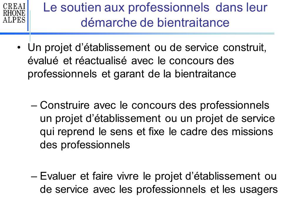 Le soutien aux professionnels dans leur démarche de bientraitance Un projet détablissement ou de service construit, évalué et réactualisé avec le conc