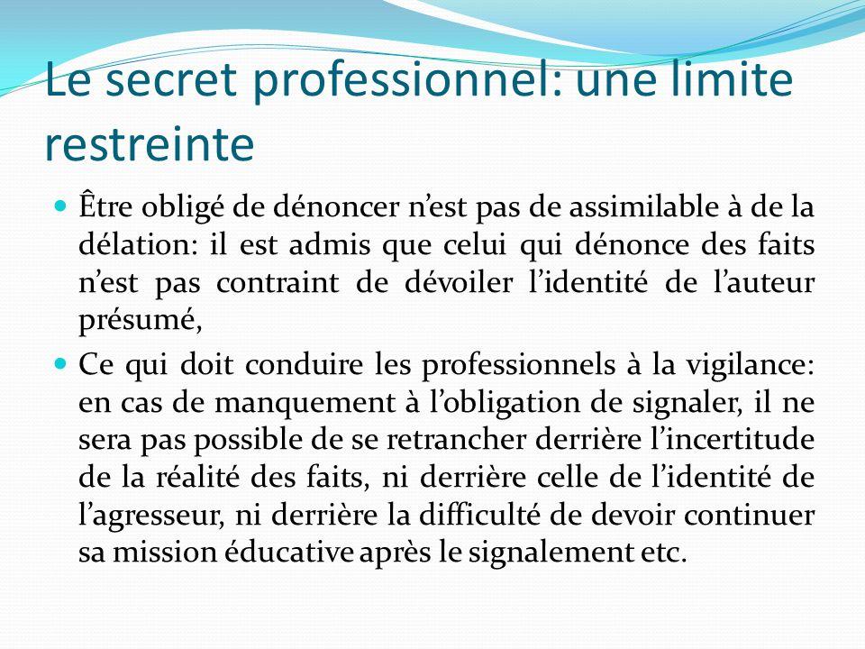 Le secret professionnel: une limite restreinte Être obligé de dénoncer nest pas de assimilable à de la délation: il est admis que celui qui dénonce de