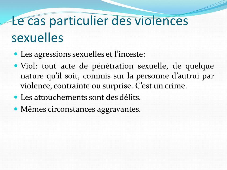Le cas particulier des violences sexuelles Les agressions sexuelles et linceste: Viol: tout acte de pénétration sexuelle, de quelque nature quil soit,