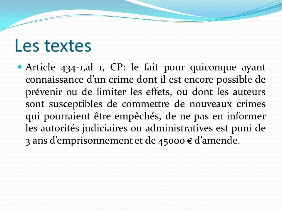 Les textes Article 434-1,al 1, CP: le fait pour quiconque ayant connaissance dun crime dont il est encore possible de prévenir ou de limiter les effet