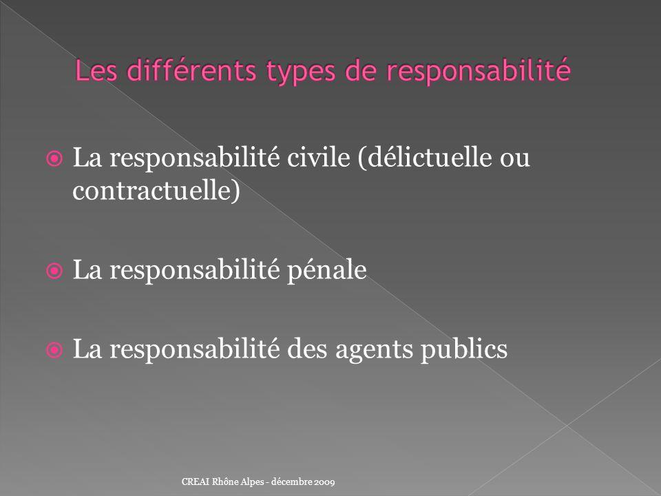 La responsabilité civile (délictuelle ou contractuelle) La responsabilité pénale La responsabilité des agents publics CREAI Rhône Alpes - décembre 200