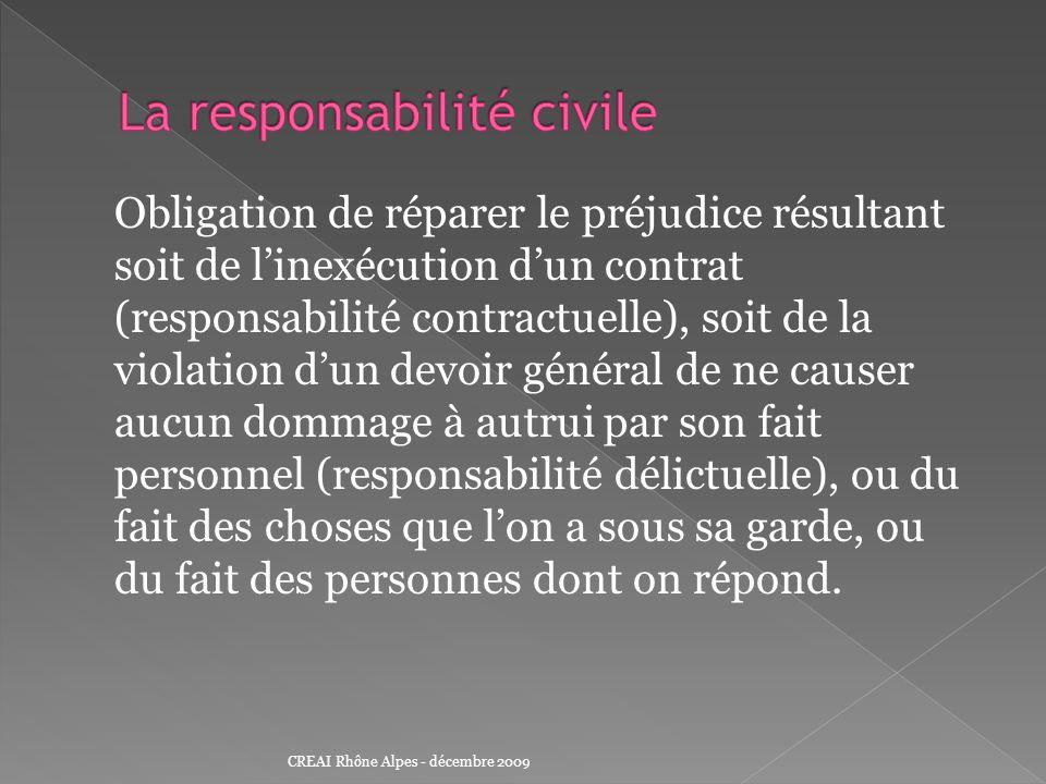 Obligation de réparer le préjudice résultant soit de linexécution dun contrat (responsabilité contractuelle), soit de la violation dun devoir général