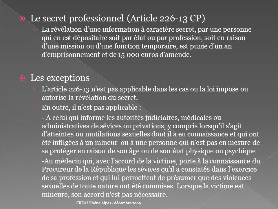 Le secret professionnel (Article 226-13 CP) La révélation dune information à caractère secret, par une personne qui en est dépositaire soit par état o
