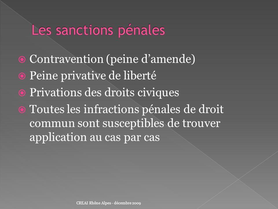 Contravention (peine damende) Peine privative de liberté Privations des droits civiques Toutes les infractions pénales de droit commun sont susceptibl