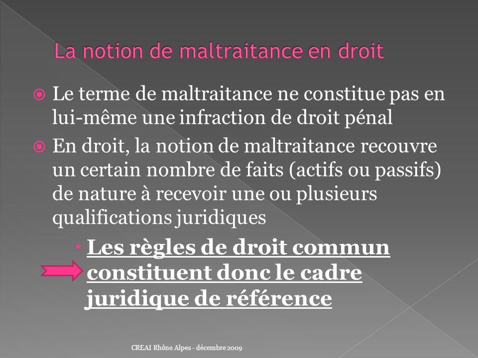La responsabilité civile (délictuelle ou contractuelle) La responsabilité pénale La responsabilité des agents publics CREAI Rhône Alpes - décembre 2009