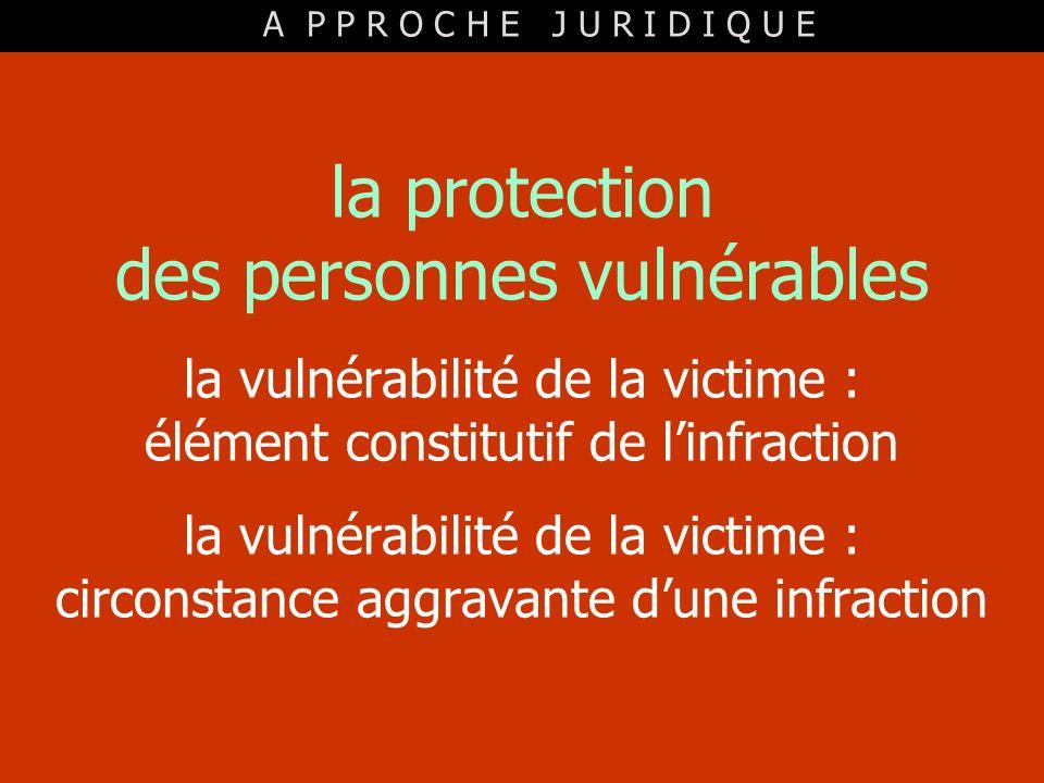 la protection des personnes vulnérables la vulnérabilité de la victime : élément constitutif de linfraction la vulnérabilité de la victime : circonsta