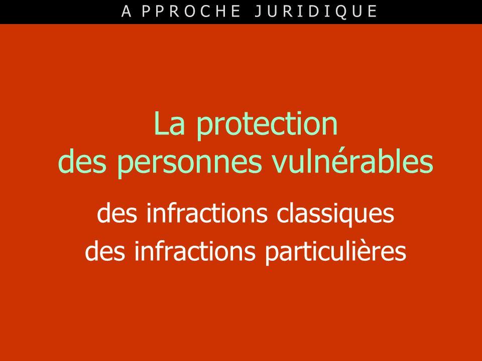 La protection des personnes vulnérables des infractions classiques des infractions particulières A P P R O C H E J U R I D I Q U E