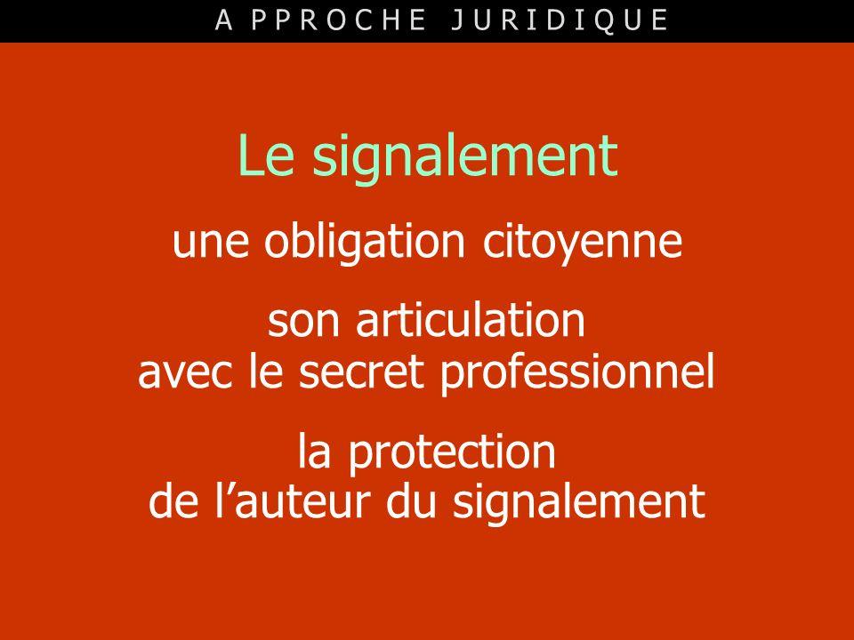 Le signalement une obligation citoyenne son articulation avec le secret professionnel la protection de lauteur du signalement A P P R O C H E J U R I