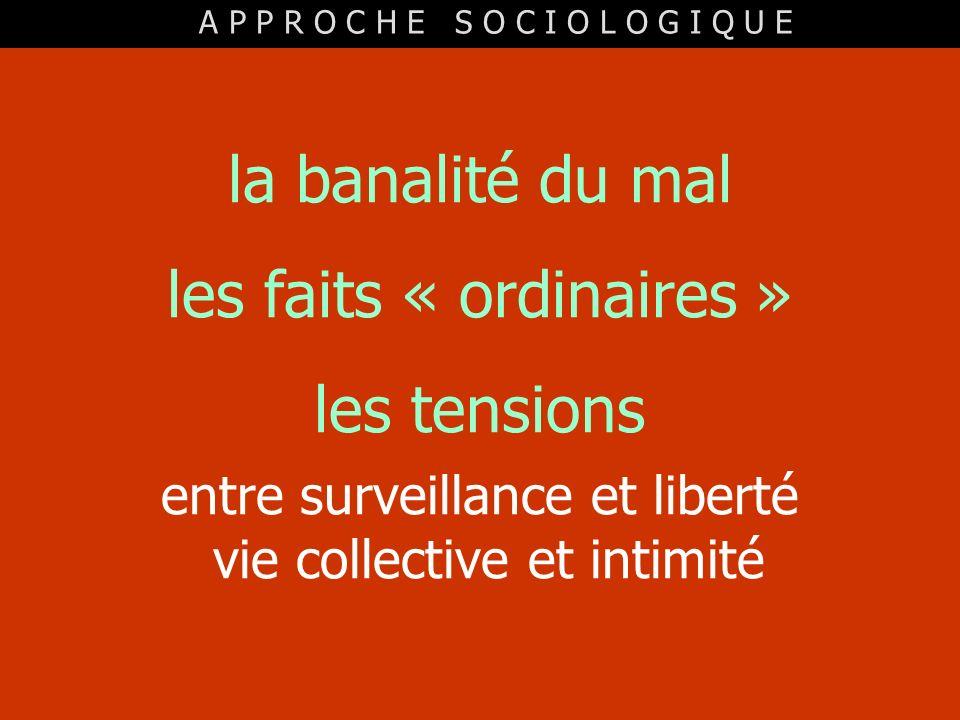 la banalité du mal les faits « ordinaires » les tensions entre surveillance et liberté vie collective et intimité A P P R O C H E S O C I O L O G I Q