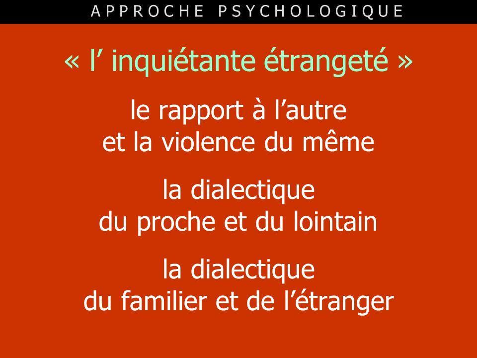 « l inquiétante étrangeté » le rapport à lautre et la violence du même la dialectique du proche et du lointain la dialectique du familier et de létran