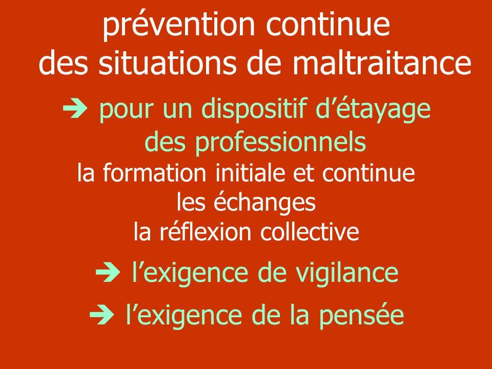 prévention continue des situations de maltraitance pour un dispositif détayage des professionnels la formation initiale et continue les échanges la ré