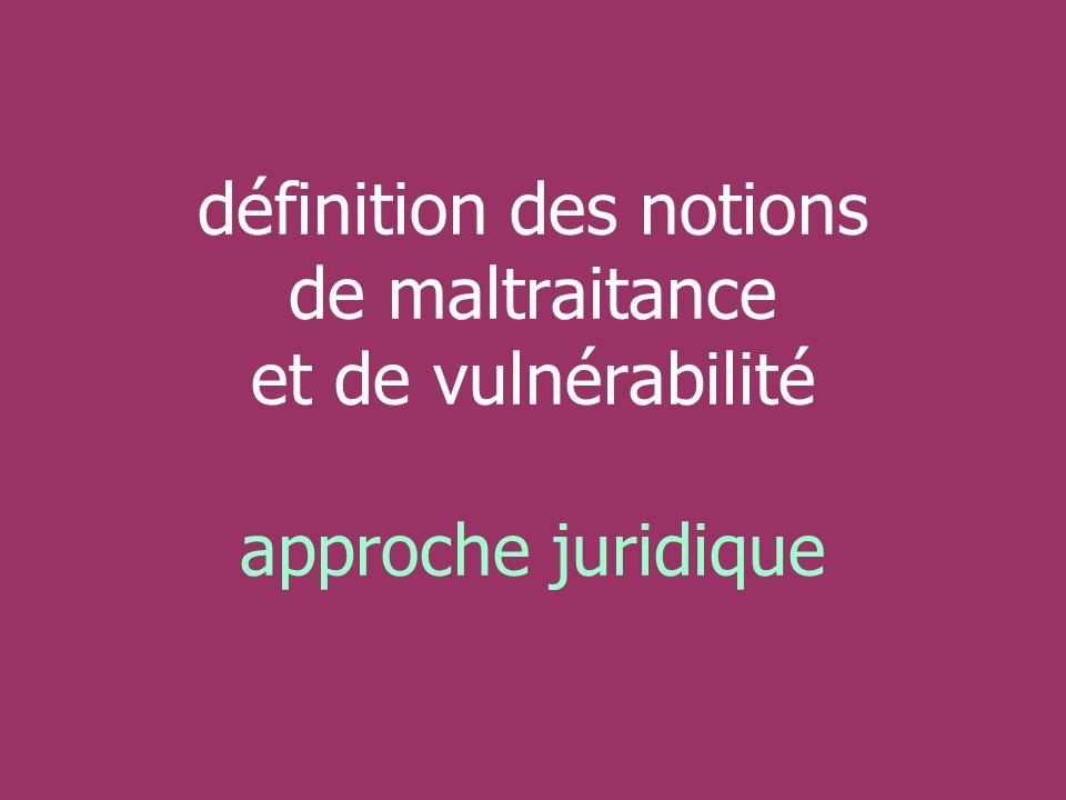 définition des notions de maltraitance et de vulnérabilité approche juridique