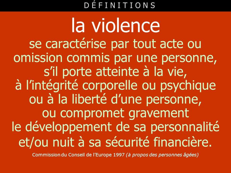 la violence se caractérise par tout acte ou omission commis par une personne, sil porte atteinte à la vie, à lintégrité corporelle ou psychique ou à l