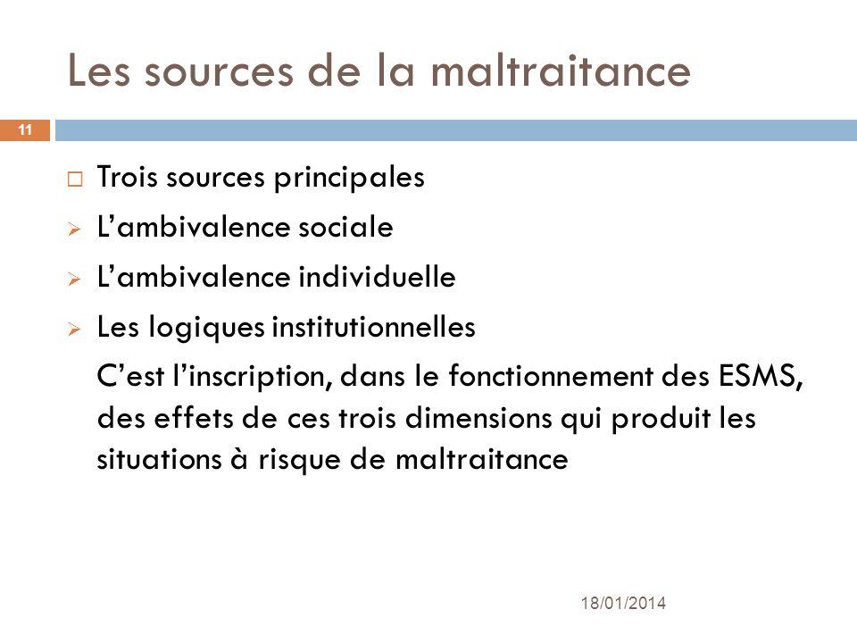 Les sources de la maltraitance Trois sources principales Lambivalence sociale Lambivalence individuelle Les logiques institutionnelles Cest linscripti