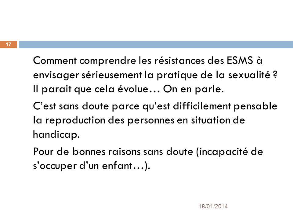 Comment comprendre les résistances des ESMS à envisager sérieusement la pratique de la sexualité ? Il parait que cela évolue… On en parle. Cest sans d