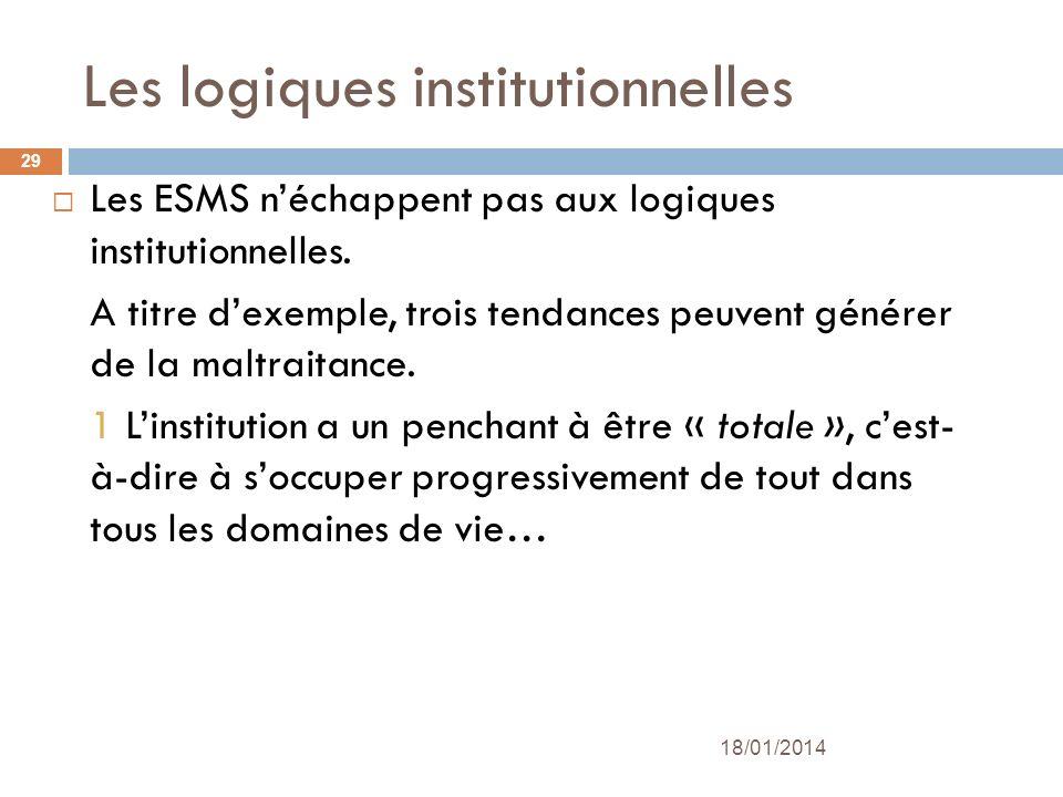 Les logiques institutionnelles Les ESMS néchappent pas aux logiques institutionnelles. A titre dexemple, trois tendances peuvent générer de la maltrai