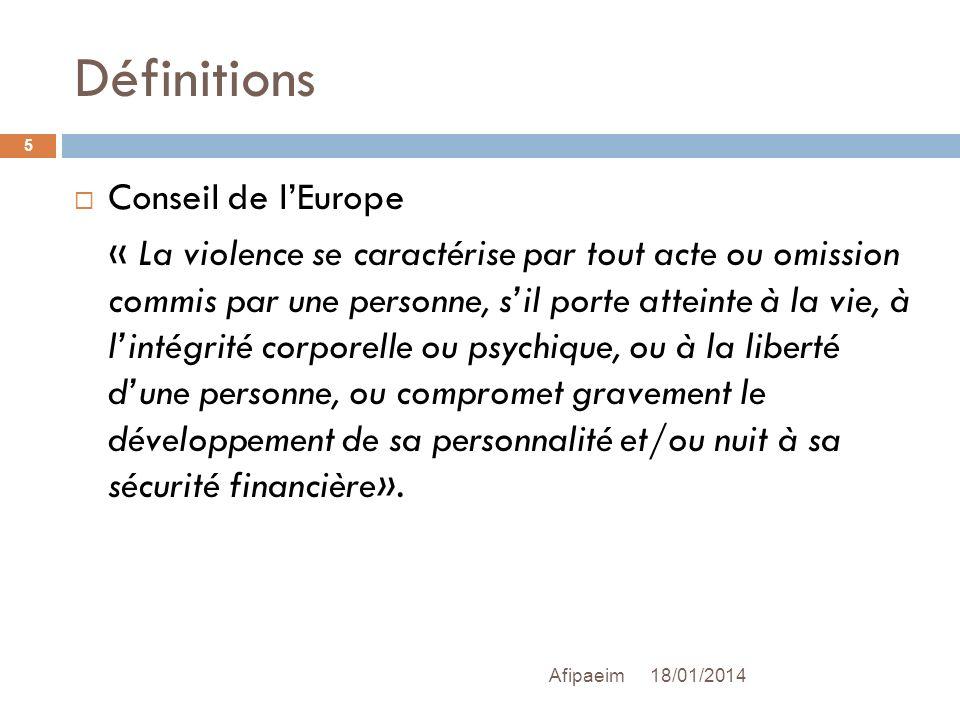 Définitions Conseil de lEurope « La violence se caractérise par tout acte ou omission commis par une personne, sil porte atteinte à la vie, à lintégri