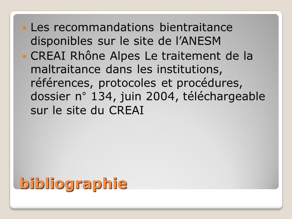 bibliographie Les recommandations bientraitance disponibles sur le site de lANESM CREAI Rhône Alpes Le traitement de la maltraitance dans les institut