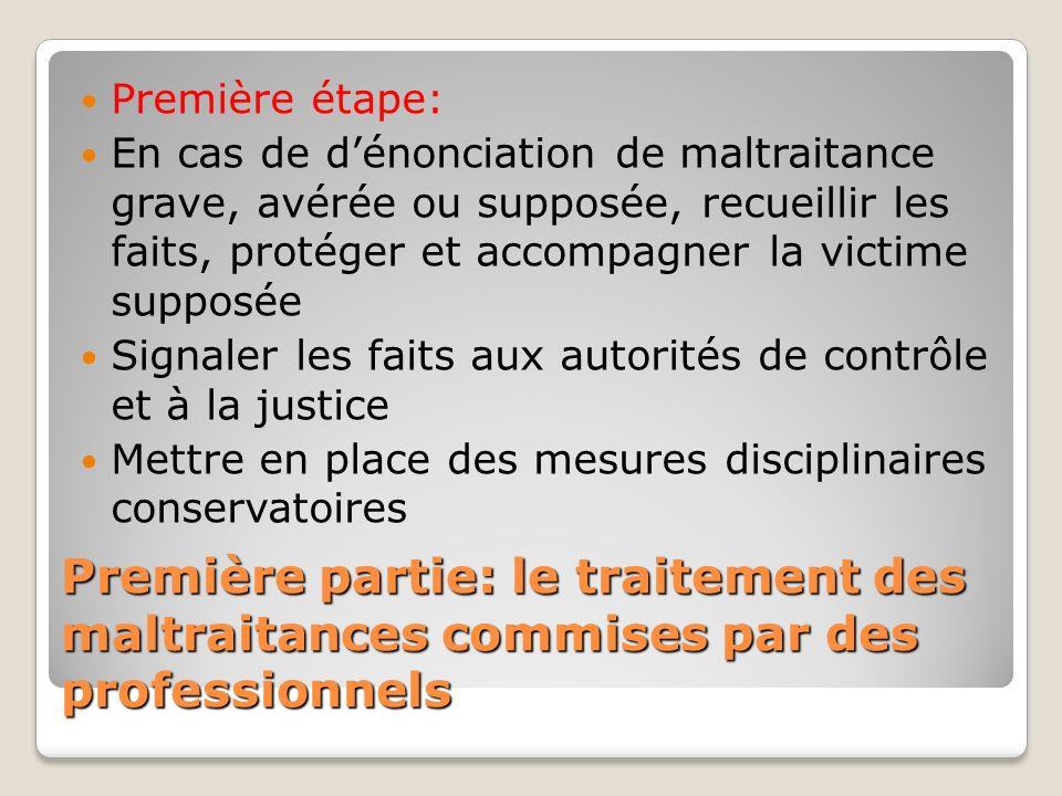Première partie: le traitement des maltraitances commises par des professionnels Première étape: En cas de dénonciation de maltraitance grave, avérée