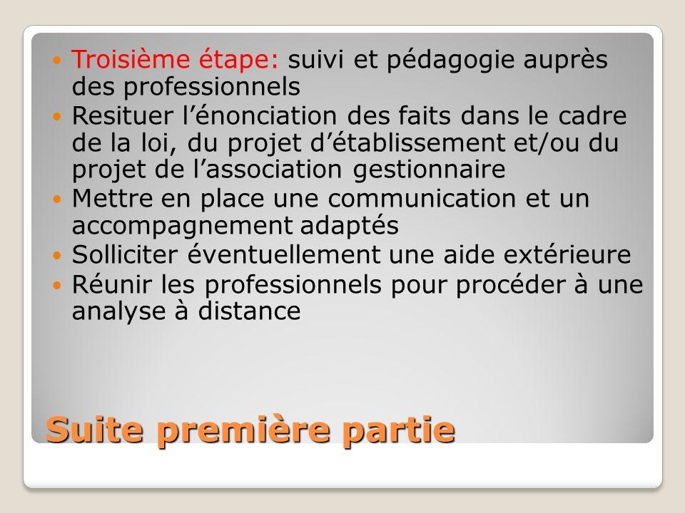Suite première partie Troisième étape: suivi et pédagogie auprès des professionnels Resituer lénonciation des faits dans le cadre de la loi, du projet