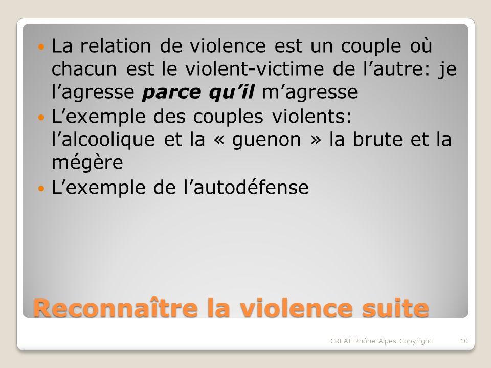 Reconnaître la violence suite La relation de violence est un couple où chacun est le violent-victime de lautre: je lagresse parce quil magresse Lexemple des couples violents: lalcoolique et la « guenon » la brute et la mégère Lexemple de lautodéfense 10CREAI Rhône Alpes Copyright