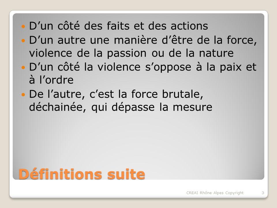 Définitions suite Dun côté des faits et des actions Dun autre une manière dêtre de la force, violence de la passion ou de la nature Dun côté la violence soppose à la paix et à lordre De lautre, cest la force brutale, déchainée, qui dépasse la mesure 3CREAI Rhône Alpes Copyright