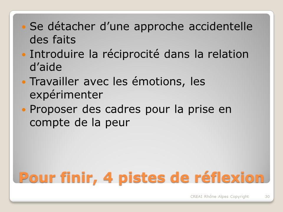 Pour finir, 4 pistes de réflexion Se détacher dune approche accidentelle des faits Introduire la réciprocité dans la relation daide Travailler avec les émotions, les expérimenter Proposer des cadres pour la prise en compte de la peur 30CREAI Rhône Alpes Copyright
