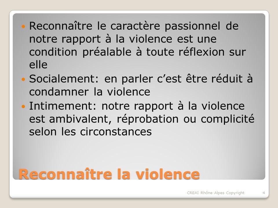 Reconnaître la violence Reconnaître le caractère passionnel de notre rapport à la violence est une condition préalable à toute réflexion sur elle Socialement: en parler cest être réduit à condamner la violence Intimement: notre rapport à la violence est ambivalent, réprobation ou complicité selon les circonstances 4CREAI Rhône Alpes Copyright