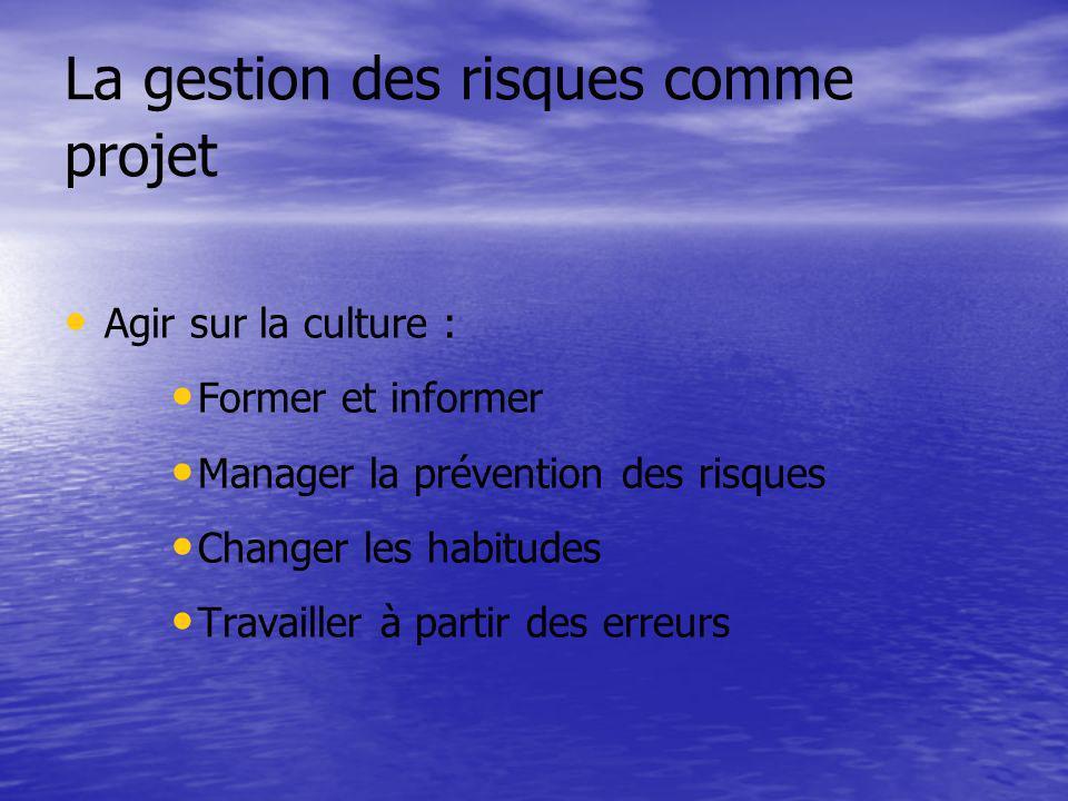 La gestion des risques comme projet Agir sur la culture : Former et informer Manager la prévention des risques Changer les habitudes Travailler à part