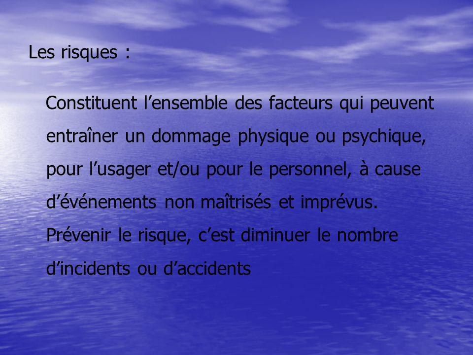 Les risques : Constituent lensemble des facteurs qui peuvent entraîner un dommage physique ou psychique, pour lusager et/ou pour le personnel, à cause