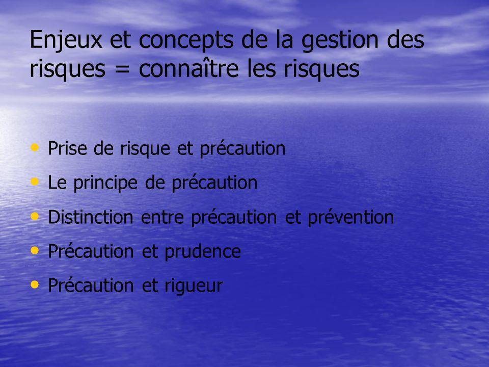 Enjeux et concepts de la gestion des risques = connaître les risques Prise de risque et précaution Le principe de précaution Distinction entre précaut