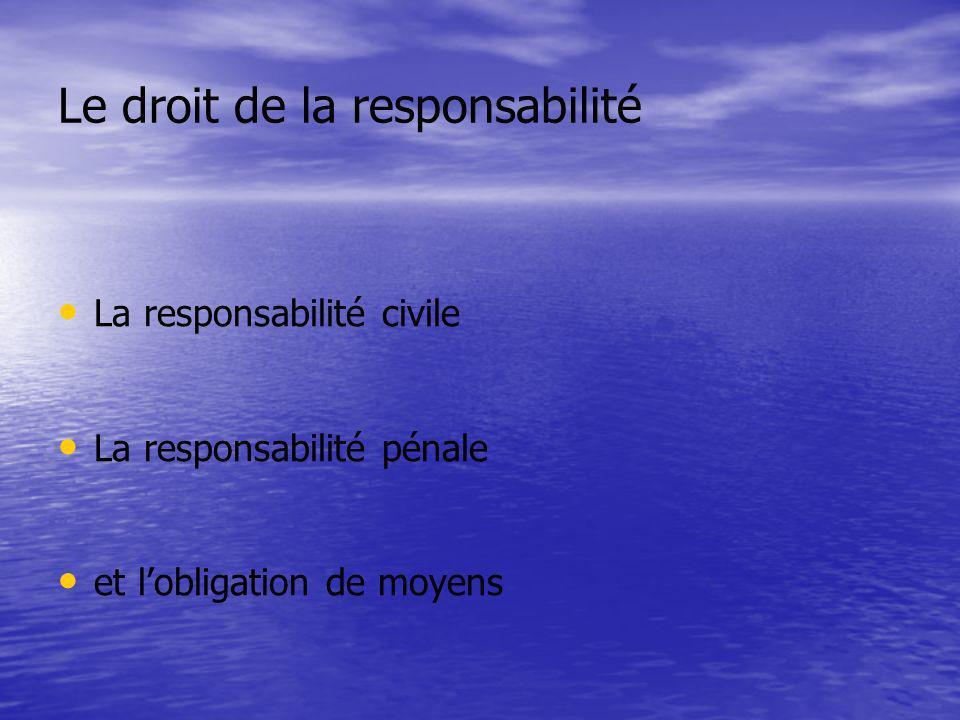 Le droit de la responsabilité La responsabilité civile La responsabilité pénale et lobligation de moyens