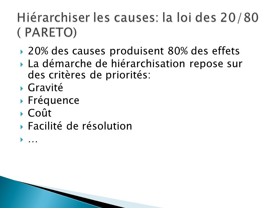 20% des causes produisent 80% des effets La démarche de hiérarchisation repose sur des critères de priorités: Gravité Fréquence Coût Facilité de résolution …